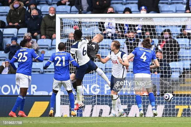 Kasper Schmeichel of Leicester City scores an own goal for Tottenham Hotspur's second goal during the Premier League match between Leicester City and...