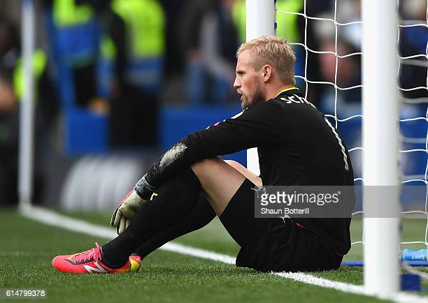 Kasper Schmeichel of Leicester City shows dejection after his side go 10 down during the Premier League match between Chelsea and Leicester City at...