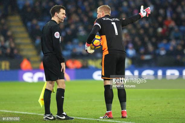 Kasper Schmeichel of Leicester City shows his frustration as he argues with the linesman during the Premier League match between Leicester City and...