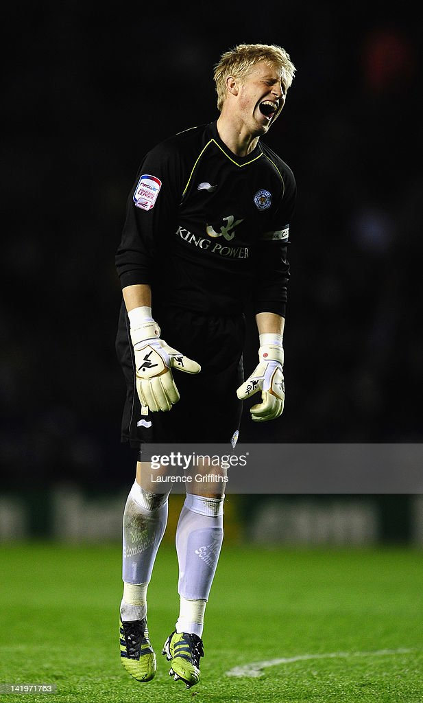 Kasper Schmeichel of Leicester City shows his frustration during the npower championship match between Leicester City and Nottingham Forest at The King Power Stadium on March 27, 2012 in Leicester, England.