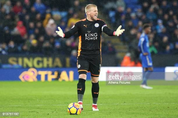 Kasper Schmeichel of Leicester City shows his frustration during the Premier League match between Leicester City and Swansea City at the Liberty...
