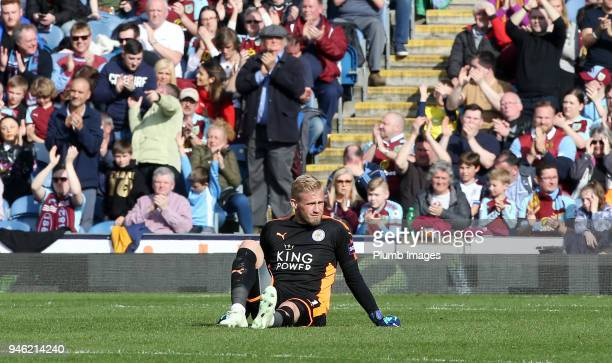 Kasper Schmeichel of Leicester City sits injured during the Premier League match between Burnley and Leicester City at Turf Moor on April 14th 2018...