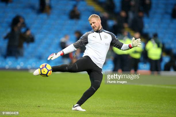 Kasper Schmeichel of Leicester City warms up at Etihad Stadium ahead of the Premier League match between Manchester City and Leicester City at Etihad...