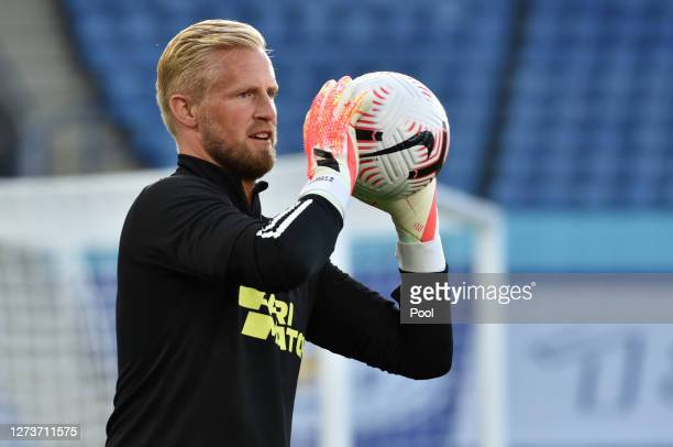Kasper Schmeichel of Leicester City warms up prior to the Premier League match between Leicester City and Burnley at The King Power Stadium on...