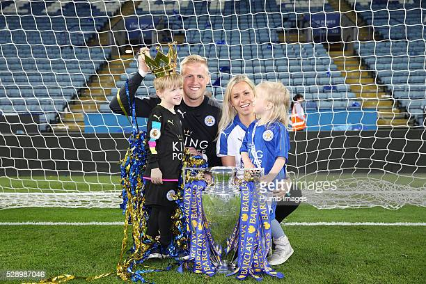 Kasper Schmeichel of Leicester City with his family and the Premier League trophy at the King Power Stadium on May 7th 2016 in Leicester United...