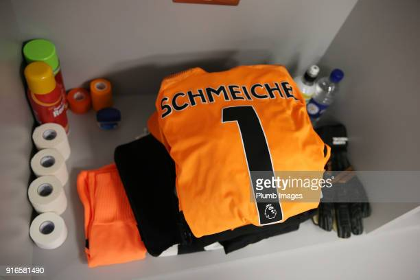 Kasper Schmeichel of Leicester City's kit is laid ahead of the Premier League match between Manchester City and Leicester City at Etihad Stadium on...
