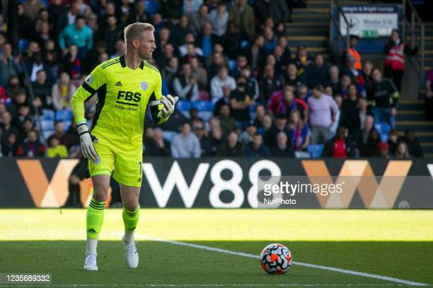 Kasper Schmeichel of Leicester controls the ball during the Premier League match between Crystal Palace and Leicester City at Selhurst Park, London...