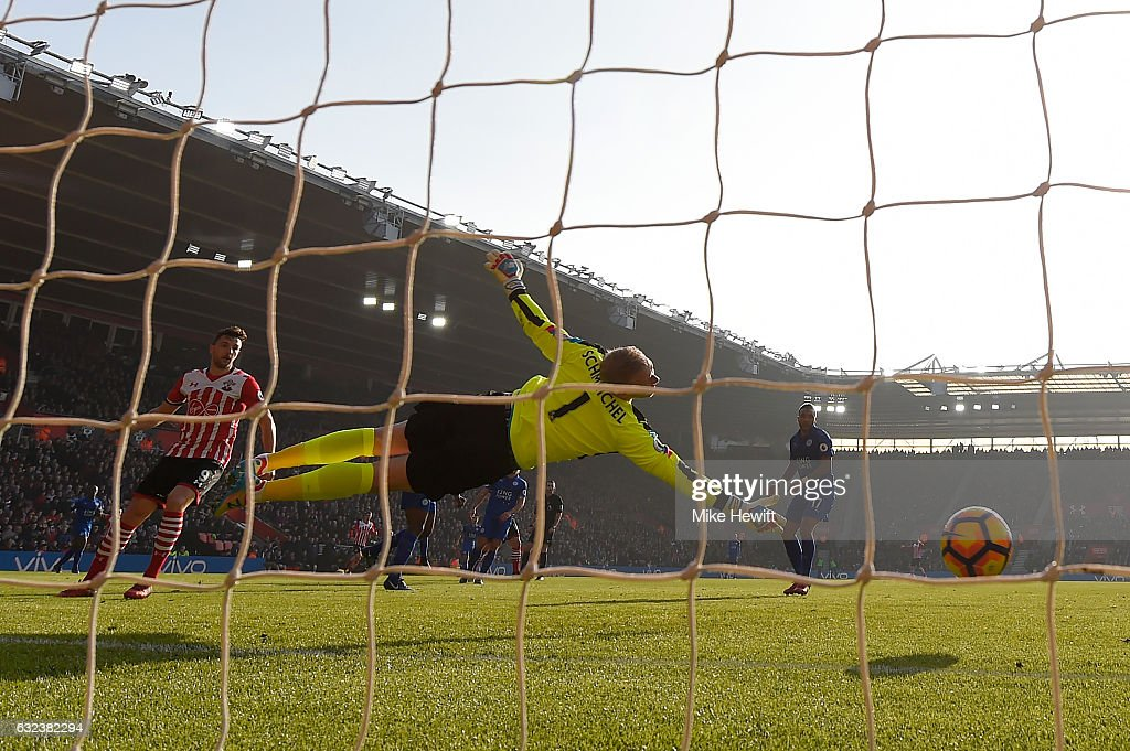 Kasper Schmeichel of Leicester fails to stop a shot from James Ward-Prowse of Southampton during the Premier League match between Southampton and Leicester City at St Mary's Stadium on January 22, 2017 in Southampton, England.