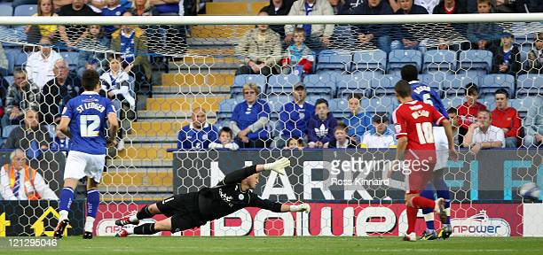 Kasper Schmeichel of Leicester is beaten for the opening goal during the npower Championship match between Leicester City and Bristol City at The...