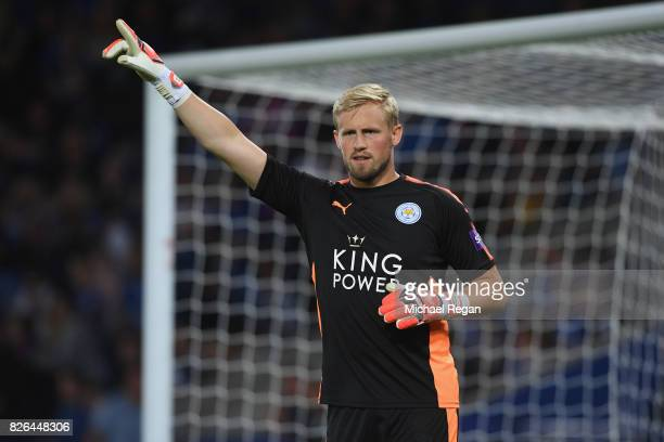 Kasper Schmeichel of Leicester looks on during the preseason friendly match between Leicester City and Borussia Moenchengladbach at The King Power...