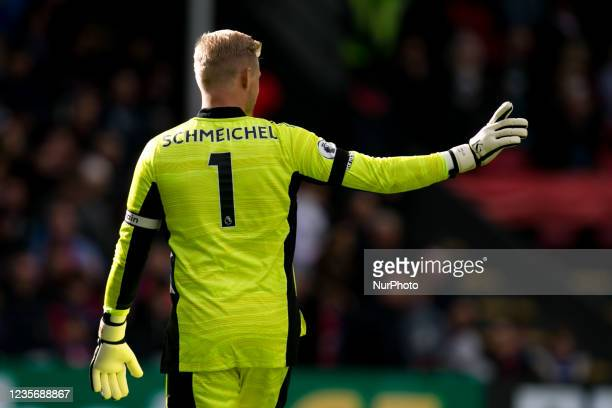 Kasper Schmeichel of Leicester points during the Premier League match between Crystal Palace and Leicester City at Selhurst Park, London on Sunday...