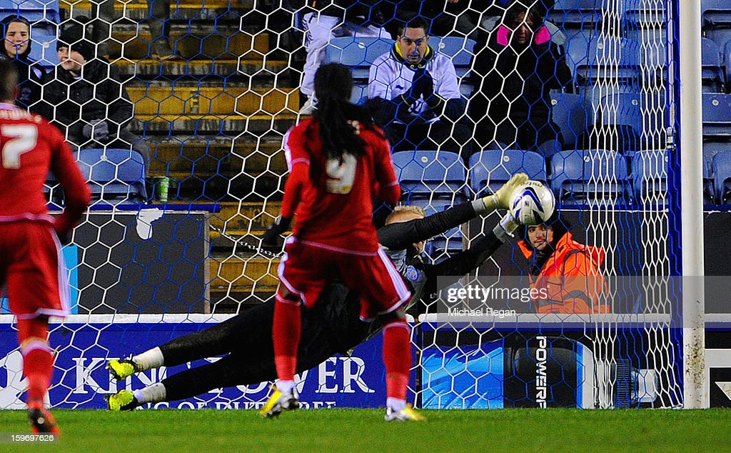 Kasper Schmeichel of Leicester saves a late penalty from Marvin Emnes of Boro during the Npower Championship between Leicester City and Middlesbrough at The King Power Stadium on January 18, 2013 in Leicester, England.