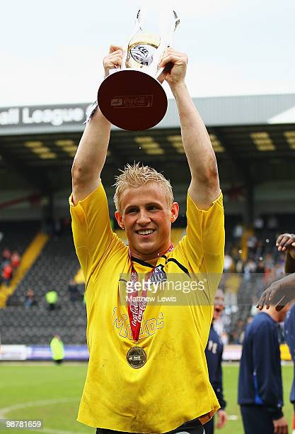 Kasper Schmeichel of Notts County celebrates winning the CocaCola League Two Championship after the CocaCola League Two match between Notts County...
