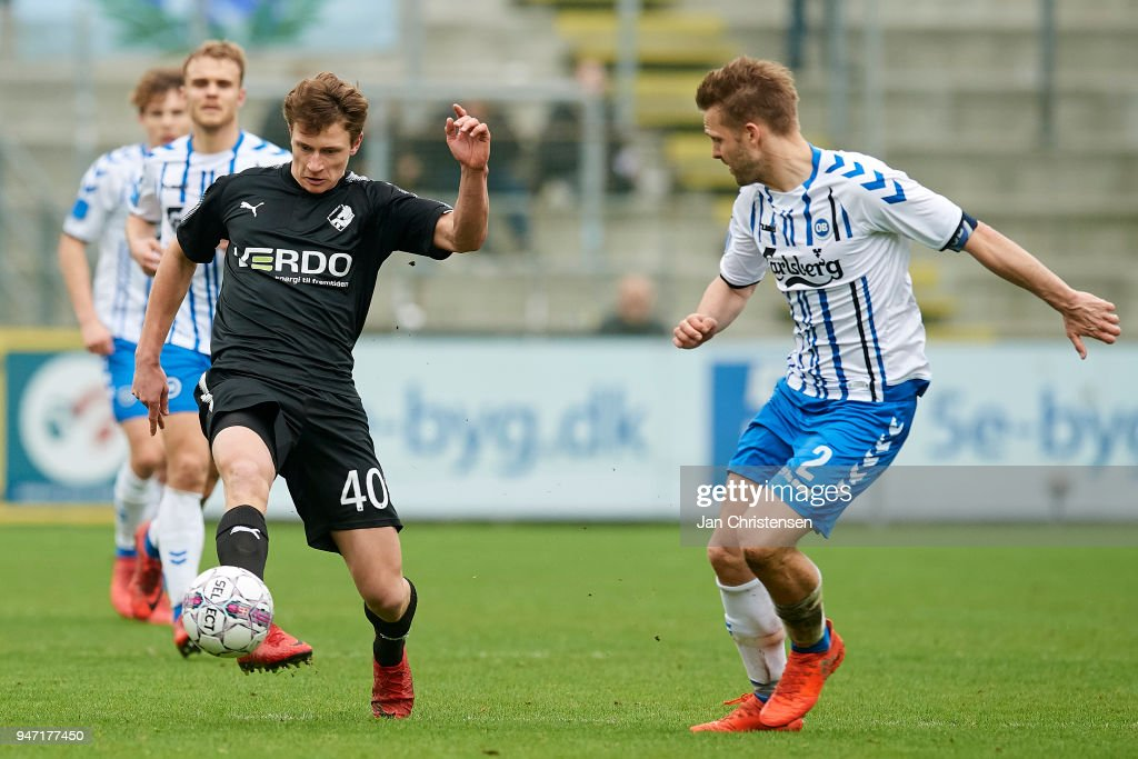 Kasper Waast Hogh of Randers FC in action during the Danish Alka Superliga match between OB Odense and Randers FC at EWII Park on April 15, 2018 in Odense, Denmark.