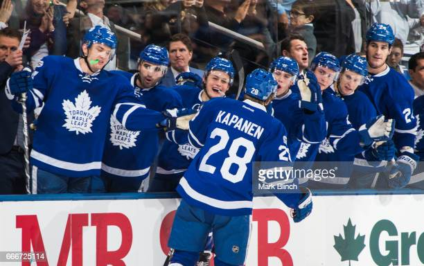 Kasperi Kapanen of the Toronto Maple Leafs celebrates his first NHL goal against the Pittsburgh Penguins during the third period at the Air Canada...