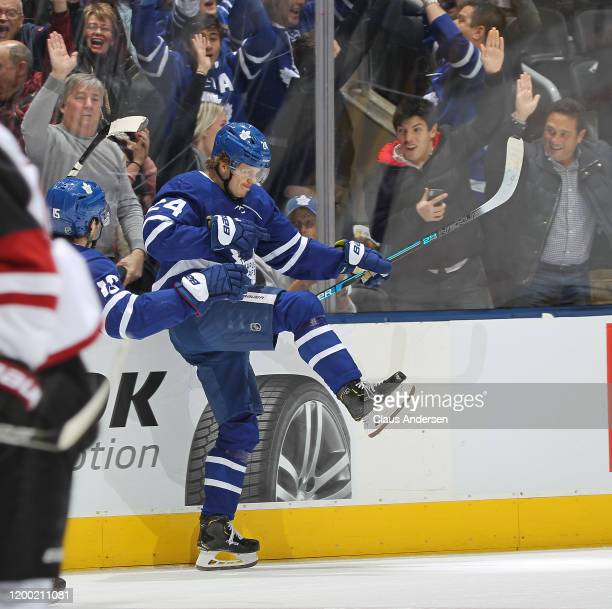 Kasperi Kapanen of the Toronto Maple Leafs celebrates his overtime game winning goal against the Arizona Coyotes during an NHL game at Scotiabank...