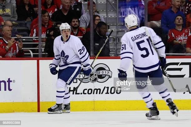 Kasperi Kapanen of the Toronto Maple Leafs celebratres a second period goal with Jake Gardiner against the Washington Capitals in Game Two of the...