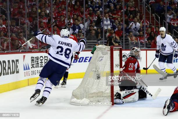 Kasperi Kapanen of the Toronto Maple Leafs celebtrates after scoring the game winning goal against the Washington Capitals to give the Leafs a 43...