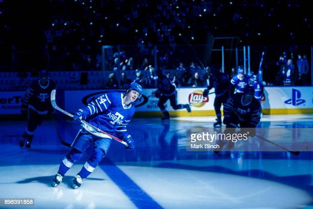 Kasperi Kapanen of the Toronto Maple Leafs during introductions prior to the game against the Carolina Hurricanes the first period at the Air Canada...