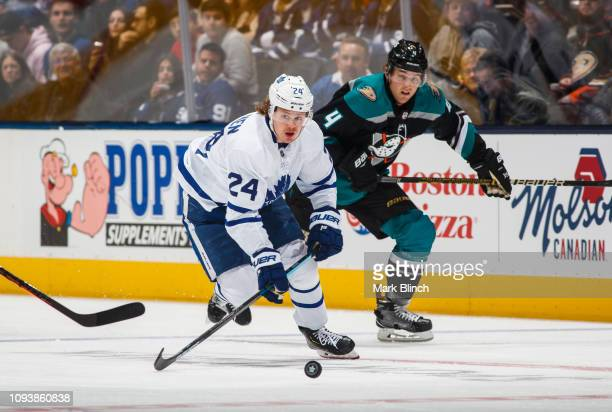 Kasperi Kapanen of the Toronto Maple Leafs plays the puck against the Anaheim Ducks during the first period at the Scotiabank Arena on February 4...