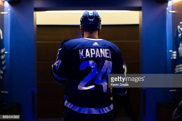 Kasperi Kapanen of the Toronto Maple Leafs returns to the dressing room after the first period against the Detroit Red Wings at the Air Canada Centre...