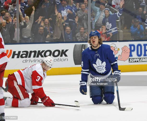 Kasperi Kapanen of the Toronto Maple Leafs scores the overtime winning goal against the Detroit Red Wings in an NHL game at Scotiabank Arena on...
