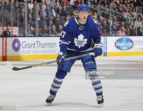 Kasperi Kapanen of the Toronto Maple Leafs skates against the Tampa Bay Lightning during an NHL game at the Air Canada Centre on February 29 2016 in...