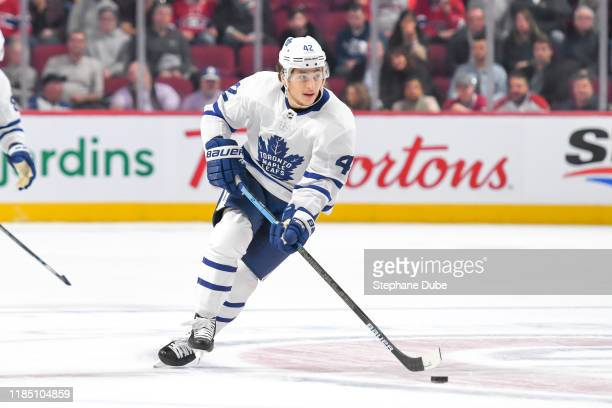 Kasperi Kapanen of the Toronto Maple Leafs skating up the ice in control of the puck against the Montreal Canadiens at Centre Bell on October 26 2019...
