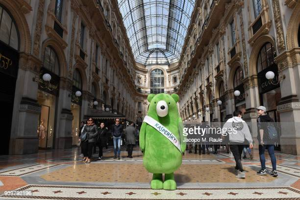 Kaspersky Lab green bear Midori Kuma is seen around town in Milan, during his world tour dedicated to raising children's awareness on cybersecurity...