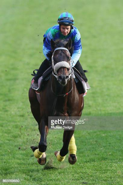 Kaspersky ridden by Michelle Payne gallops during Breakfast With The Stars at Moonee Valley Racecourse on October 24 2017 in Melbourne Australia