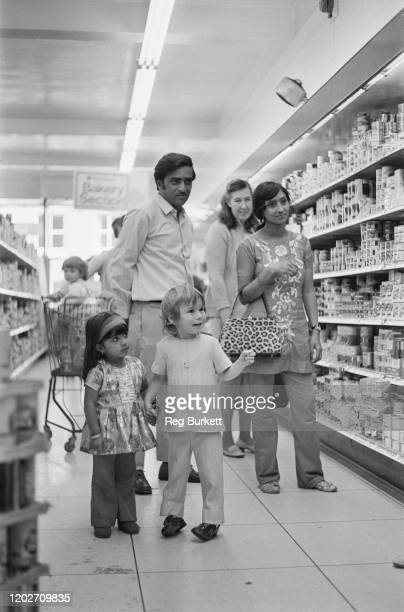 Kassam Osman and his family shopping in a supermarket in Haverhill Suffolk 22nd September 1972 They are some of the 27000 Ugandan Asian refugees...