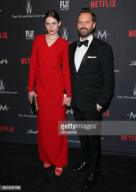 Kassandra Jensen and Dustin O'Halloran attend The Weinstein Company and Netflix Golden Globe Party presented with FIJI Water Grey Goose Vodka Lindt...
