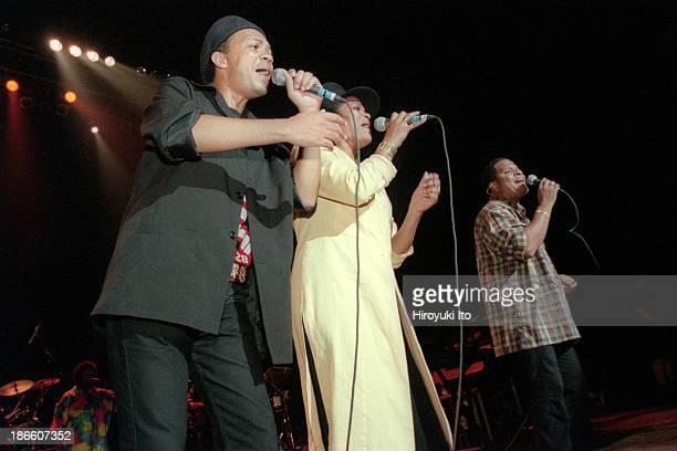 Kassav performing at Hammerstein Ballroom on Friday night July 23 1999This imageFrom left Patrick Saint Eloi Jocelyn Beroard and JeanPhilippe Marthely