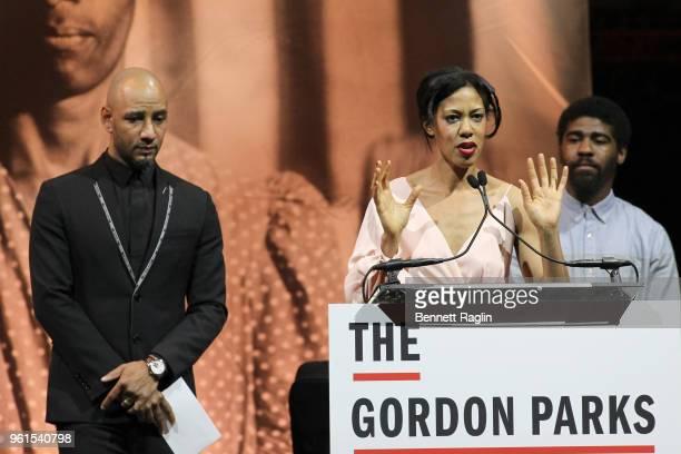 Kasseem Swizz Beatz Dean Gordon Parks Foundation Fellow Deana Lawson and Author Devin Allen speak on stage during Gordon Parks Foundation 2018 Awards...