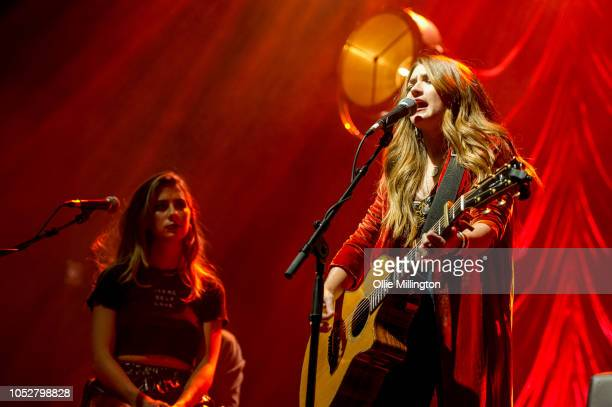Kassi Ashton and Tenille Townes perfom onstage during the October 2018 CMA Songwriters Series tour at O2 Shepherd's Bush Empire on October 22 2018 in...
