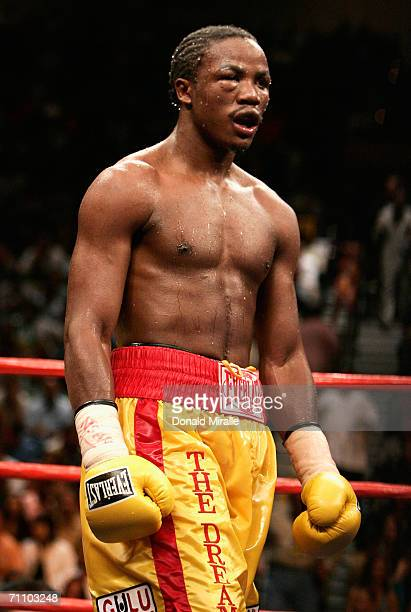 Kassim Ouma prepares to fight against Marco Antonio Rubio during their WBC middleweight bout on the undercard of the Ricardo MayorgaOscar De La Hoya...