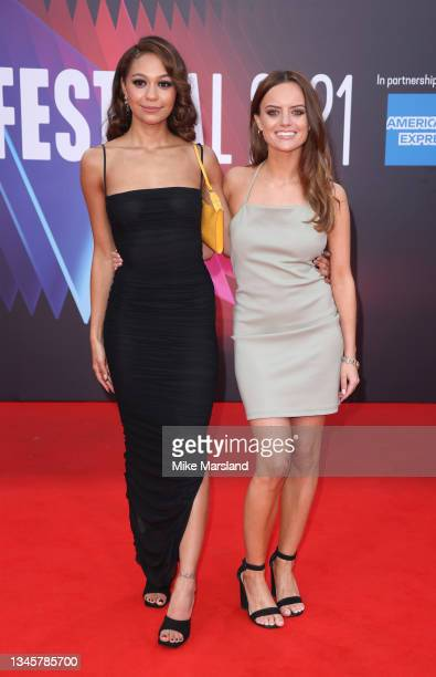 """Kassius Nelson and Rebecca Harrod attend the """"Last Night In Soho"""" UK Premiere during the 65th BFI London Film Festival at Curzon Soho on October 09,..."""