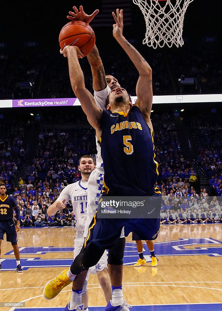 Kassius Robertson #5 of the Canisius Golden Griffins has his shot blocked from behind by Mychal Mulder #11 of the Kentucky Wildcats at Rupp Arena Stadium on November 13, 2016 in Lexington, Kentucky. Kentucky defeated Canisius 93-69.