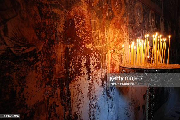Kastoria, candles, Byzantine church, Greece