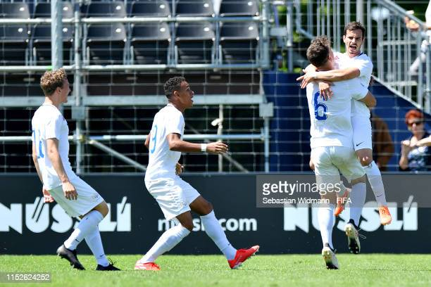 Kastrijot Ndau of FC Zurich celebrates scoring his sides first goal in the group stage match between PAOK FC and FC Zurich during day one of the Blue...