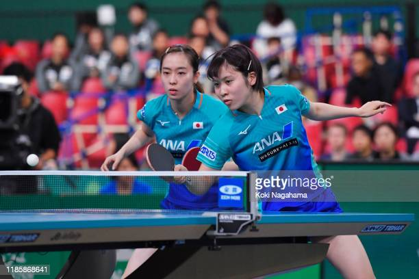 Kasumi Ishikawa and Miu Hirano competes against Amy Wang of the United States during Women's Teams doubles Group B - Match 2 on day one of the ITTF...
