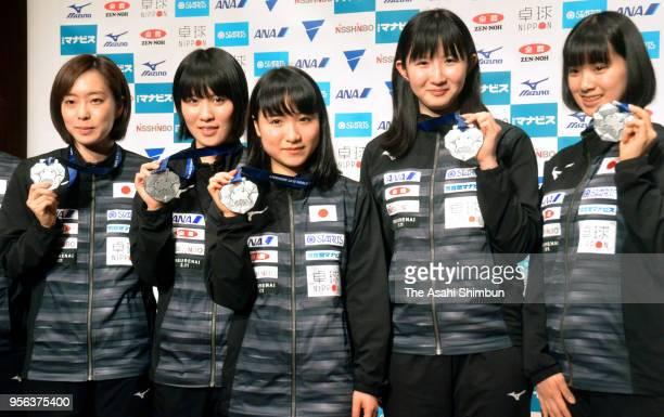 Kasumi Ishikawa Miu Hirano Mima Ito Hina Hayata and Miyu Nagasaki of Japan Women's table tennis team pose for photographs during a press conference...