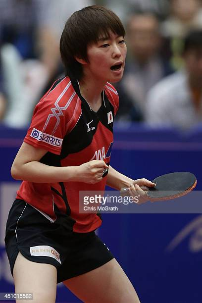 Kasumi Ishikawa of Japan celebrates a point against Yu Mengyu of Singapore during their Women's Singles Semi final match on day three of 2014 ITTF...