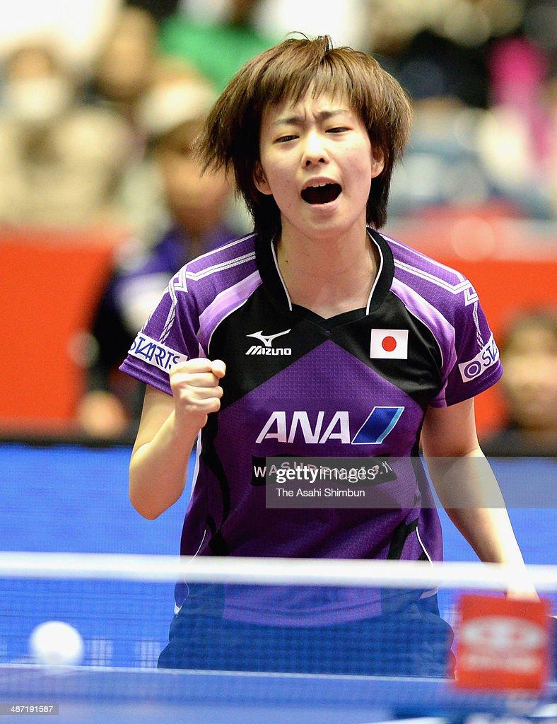 Kasumi Ishikawa of Japan celebrates beating Alexandra Privalova of Belarus during day one of the 2014 World Team Table Tennis Championships at Yoyogi National Gymnasium on April 28, 2014 in Tokyo, Japan.