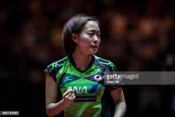 Kasumi Ishikawa of Japan celebrates during women Double 1 Round at Table Tennis World Championship at Messe Duesseldorf on May 30 2017 in Dusseldorf...