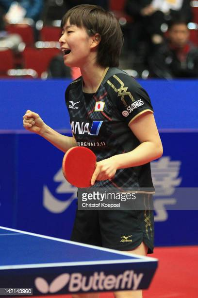 Kasumi Ishikawa of Japan celebrates her victory against Seok Ha Jung of South Korea during the LIEBHERR table tennis team world cup 2012 championship...