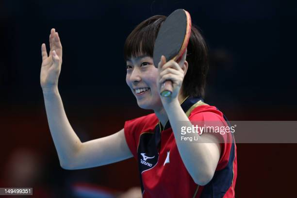 Kasumi Ishikawa of Japan celebrates winning her Women's Singles Table Tennis third round match against Li Qiangbing of Austria on Day 2 of the London...