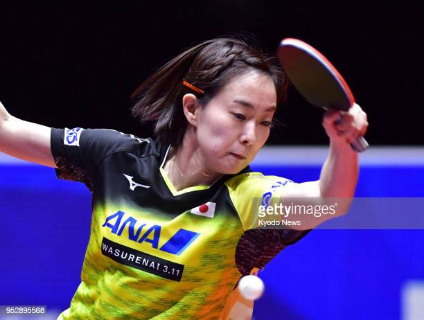 Kasumi Ishikawa of Japan competes against Egypt at the world team table tennis championships in Halmstad Sweden on April 29 ==Kyodo
