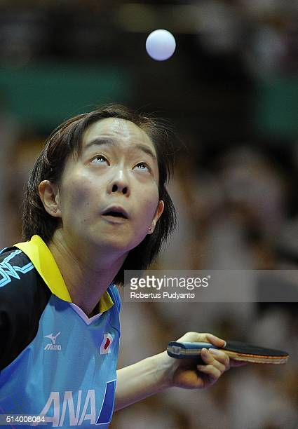 Kasumi Ishikawa of Japan competes against Li Xiaoxia of China during the 2016 World Table Tennis Championship Women's Team Division final match at...
