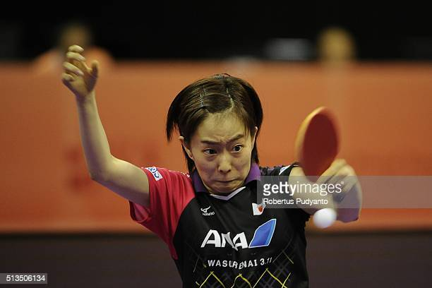 Kasumi Ishikawa of Japan competes against Solja Petrissa of Germany during the 2016 World Table Tennis Championship Women's Team Division...